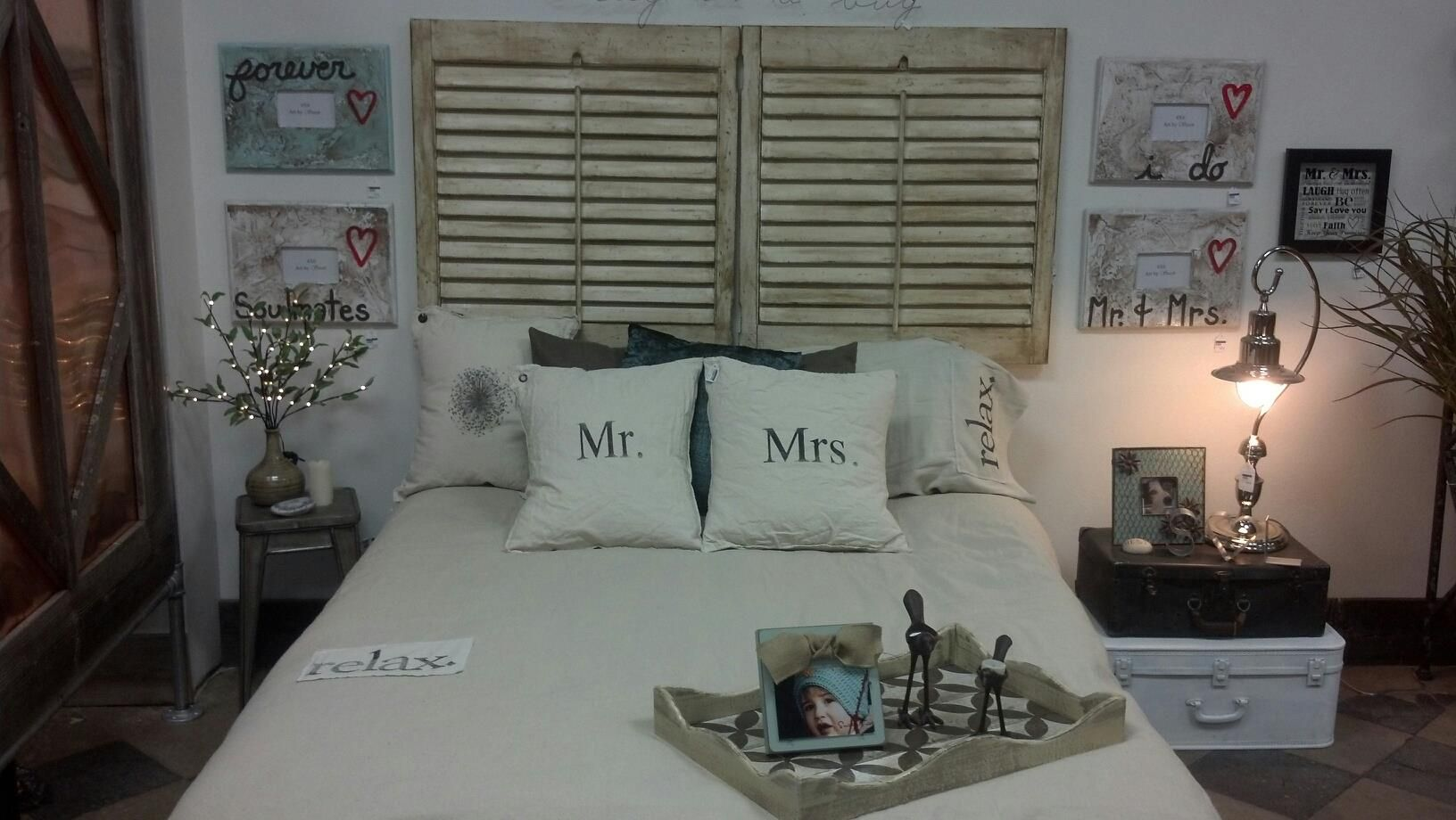 Love shutters over bed (Soul Interiors, Bismarck, ND)