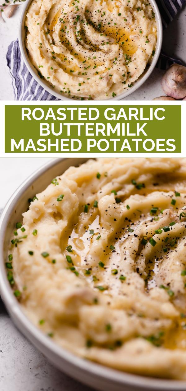 Roasted Garlic Buttermilk Mashed Potatoes Plays Well With Butter Recipe In 2020 Buttermilk Mashed Potatoes Pureed Food Recipes Mashed Potato Recipes