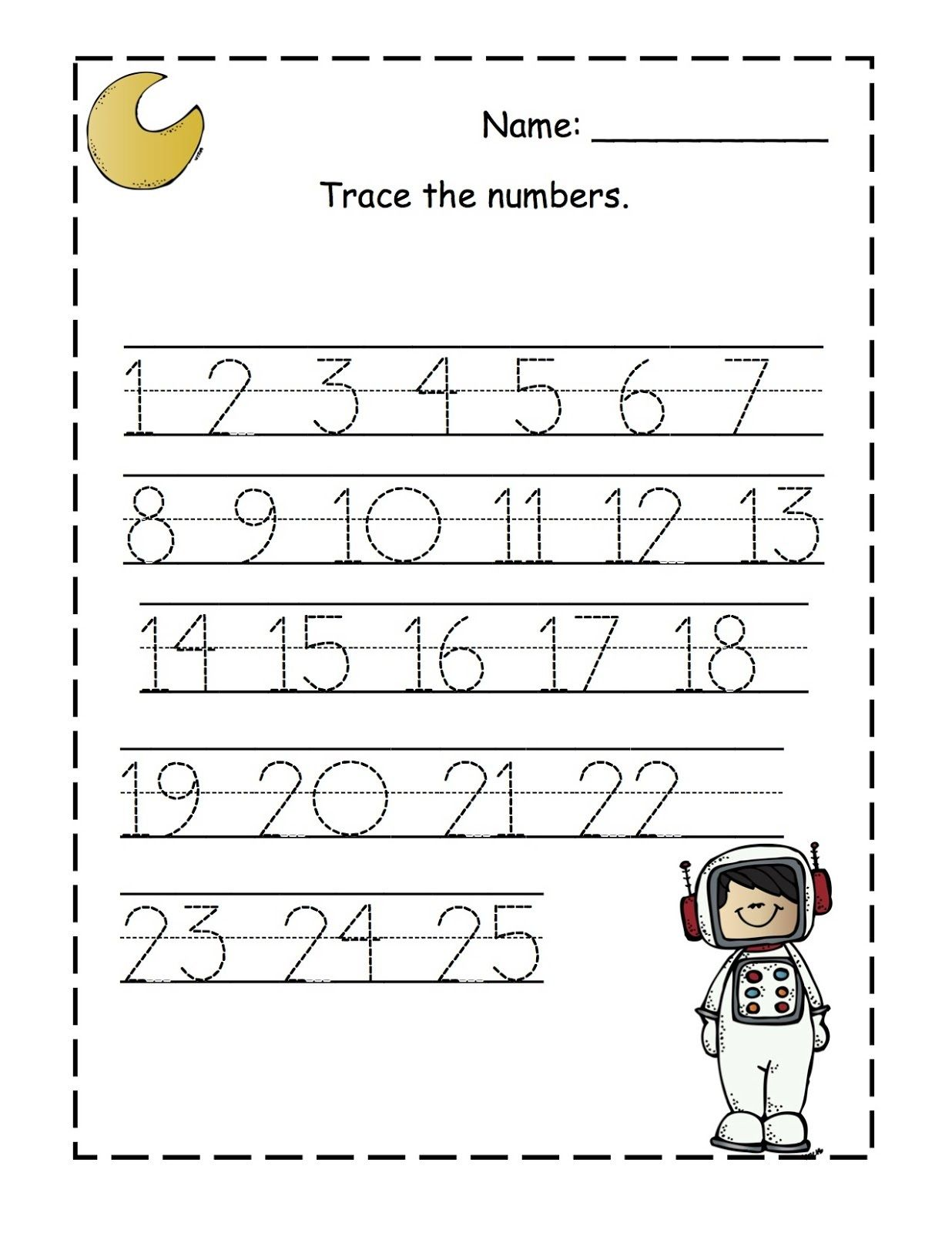 Preschool Printable Worksheets Numbers 1 25