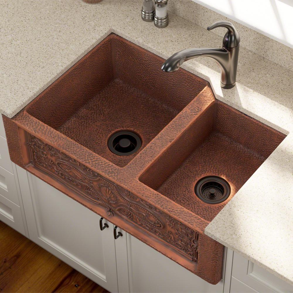 Mr Direct Farmhouse Apron Front Copper 33 In Double Bowl Kitchen