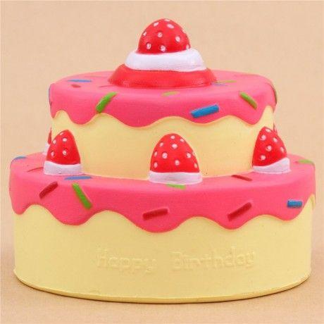 Vlampo squishy torta di compleanno glassa fucsia kawaii Squishies, Slime and Kawaii