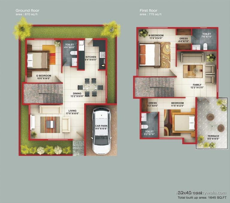 Download Duplex House Plans For 30 50 Site East Facing