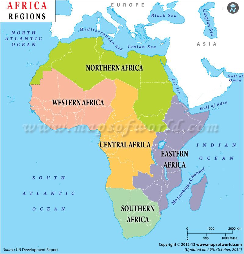 Map Of Africa Showing Regions Map showing geographical regions in Africa. | Africa, Africa map