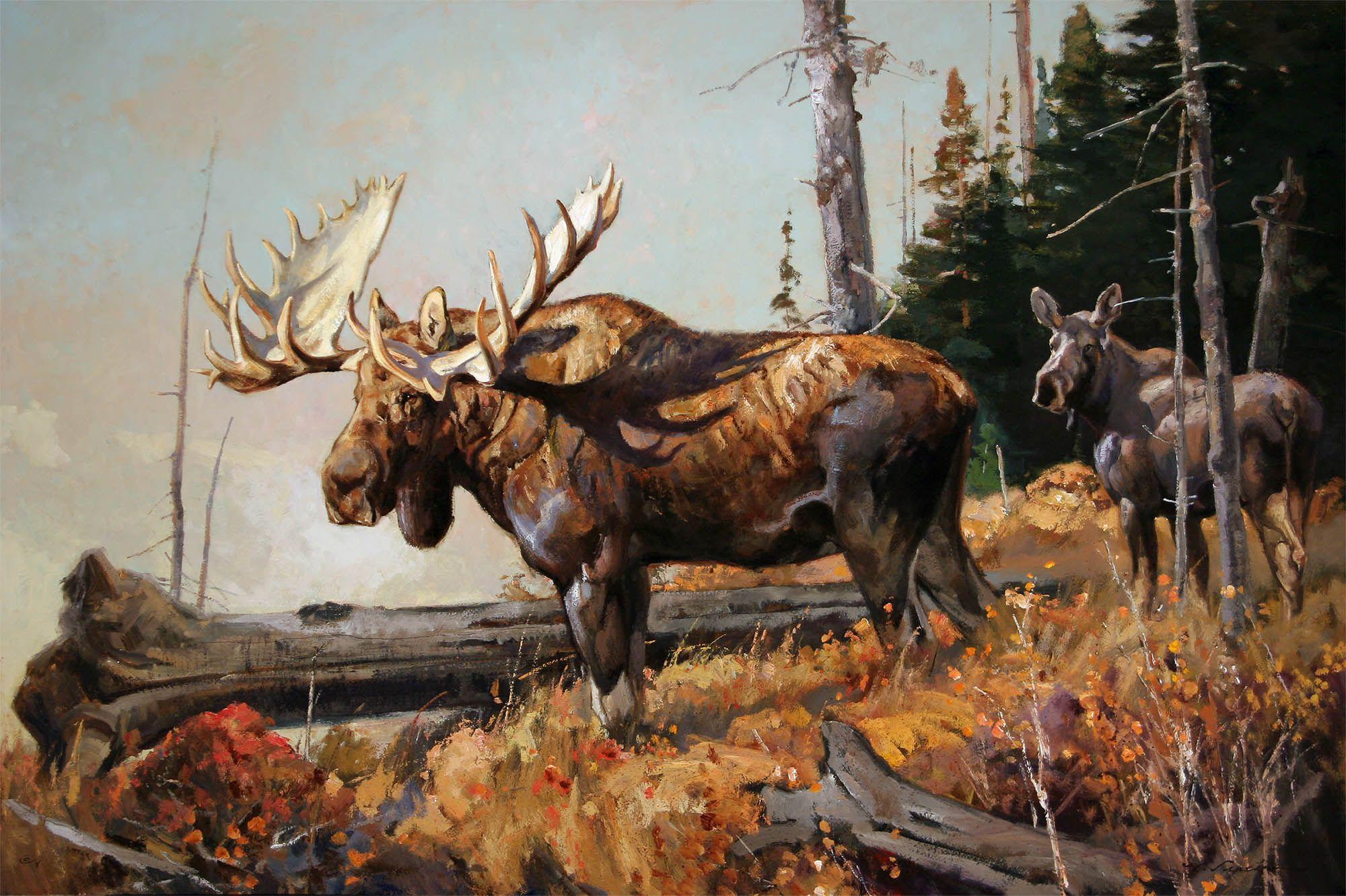 Картинка с охотником и оленями
