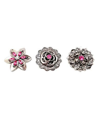 Another great find on #zulily! Sterling Silver & Pink Floral Interchangeable Snap Charm Set #zulilyfinds