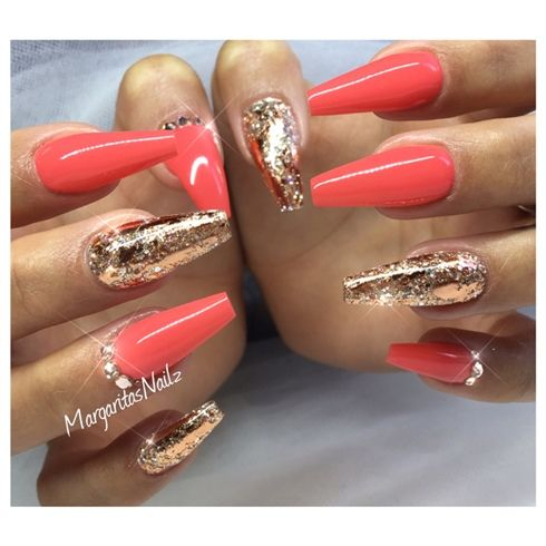 Rose Gold Coffin Nails by MargaritasNailz fall nailfashion ...
