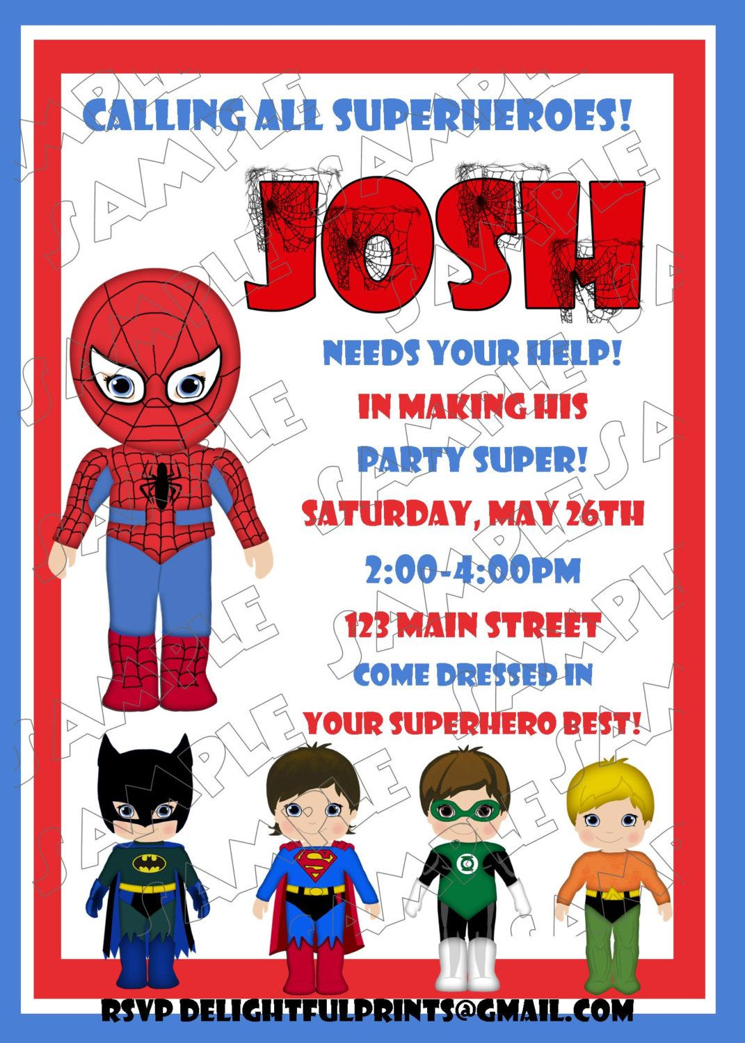 Spiderman birthday invitation and friends many colorsDIY you