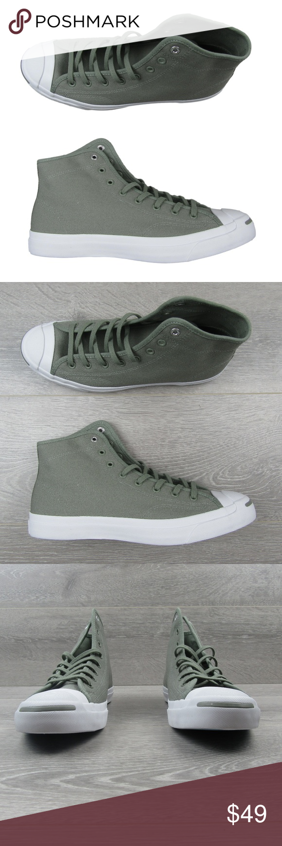 328cbb8919d78b Converse Jack Purcell Mid Sneakers Converse Jack Purcell Mid Sneakers Dark  Stucco Light Olive Style -