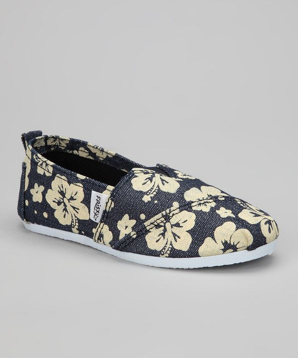 Look at this #zulilyfind! Frisky Shoes Navy Hibiscus Slip-On Sneaker by Frisky Shoes #zulilyfinds