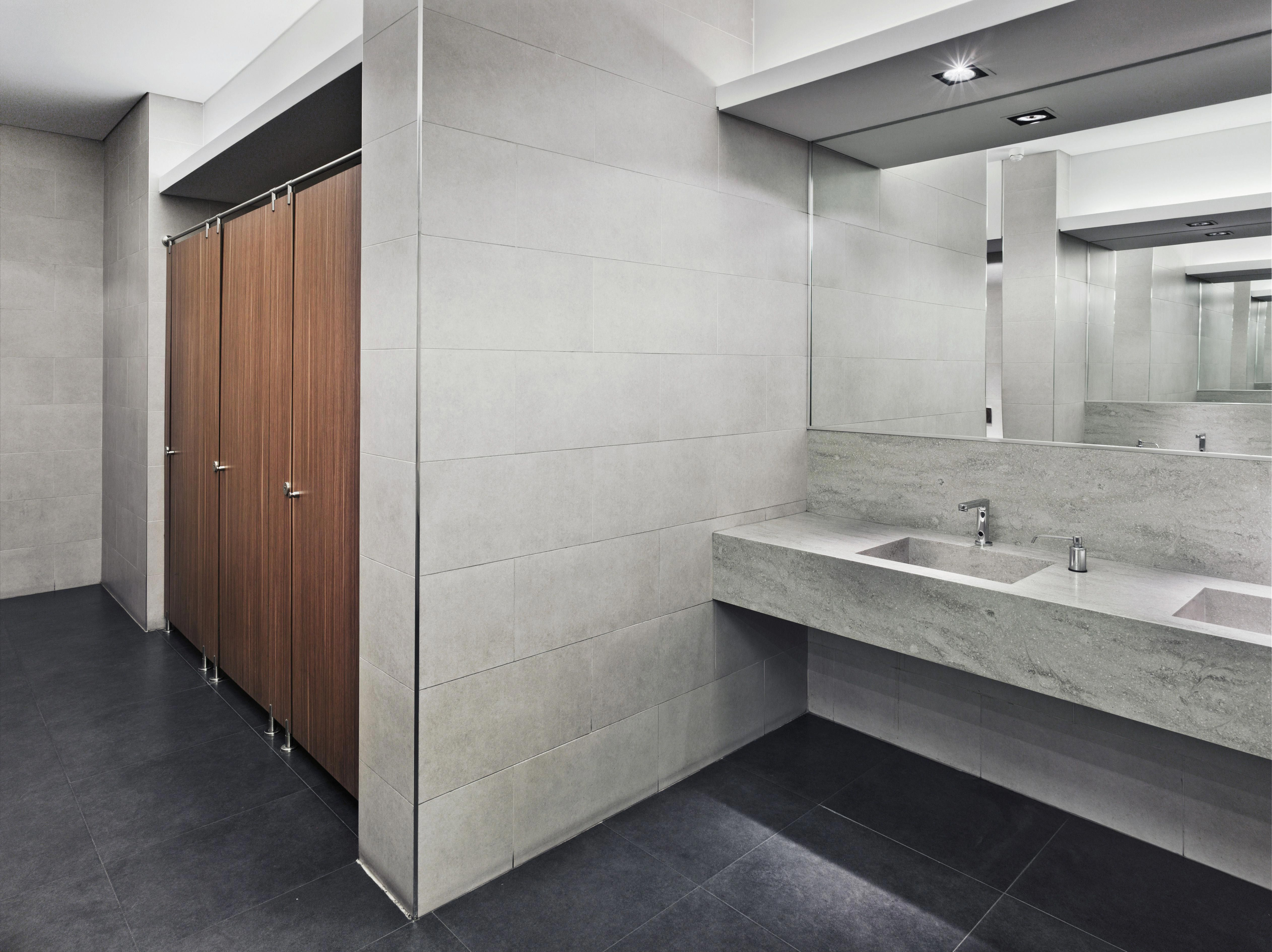 Commercial bathroom flooring must handle water, stains