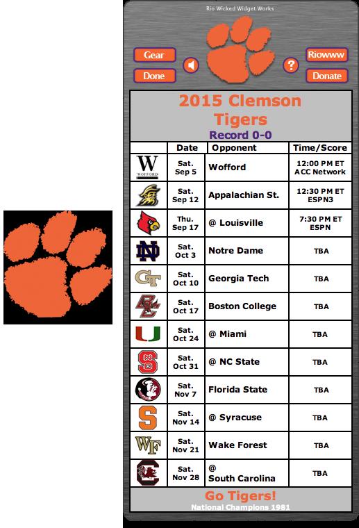 Free 2015 Clemson Tigers Football Schedule Widget Go