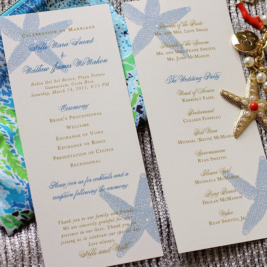 Beach Wedding Program   Wedding programs, Beach weddings and Starfish