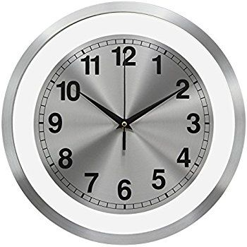 Amazon Com 12 Aluminum Modern Contemporary Wall Clock With Free Floating Concentric Silver Face Dial Kitchen Contemporary Wall Clock Wall Clock Modern Clock