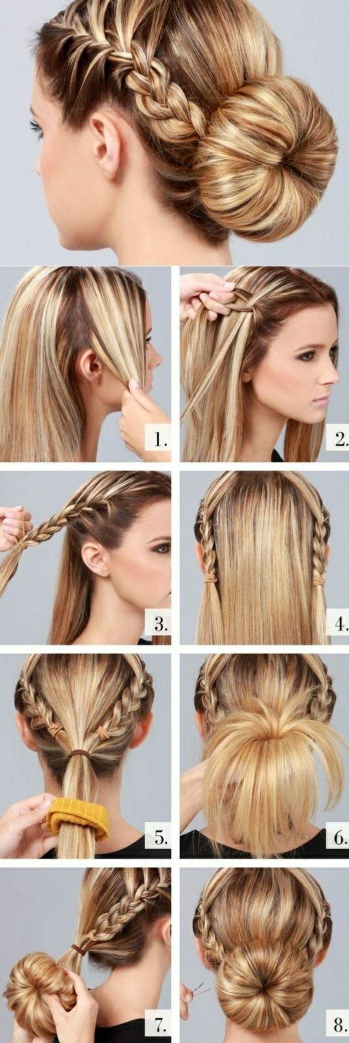 tuto pour réaliser une coiffure tresse, tresse africaine sur le coté et chignon bas, exemple de ...