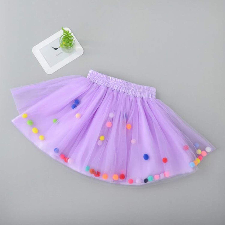 985e1fb47 Amazon.com: Tutu Skirt GoFriend Baby Girls Tulle Princess Dress 4-layer  Fluffy Ballet Skirt with Little Pom Pom Puff Ball (M, Light Purple):  Clothing