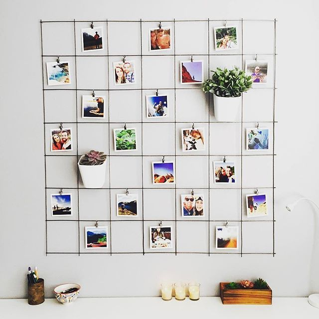 Alls 22 Added Some Plants And Some Metal To Her Extra Cute Grid Wall Thanks For Sharing Diy Photo Wall Diy Wall Decor Diy Room Decor
