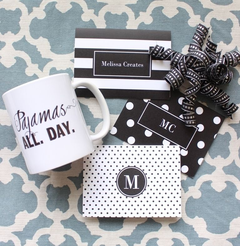 Customize some black and white note cards to complement a super chic Shutterfly mug. For more great ideas, follow Melissa on Pinterest at http://www.pinterest.com/MelissacCreates/.