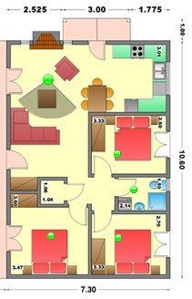 Tres planos de casas prefabricadas las cuales tienen como for Planos de casas prefabricadas