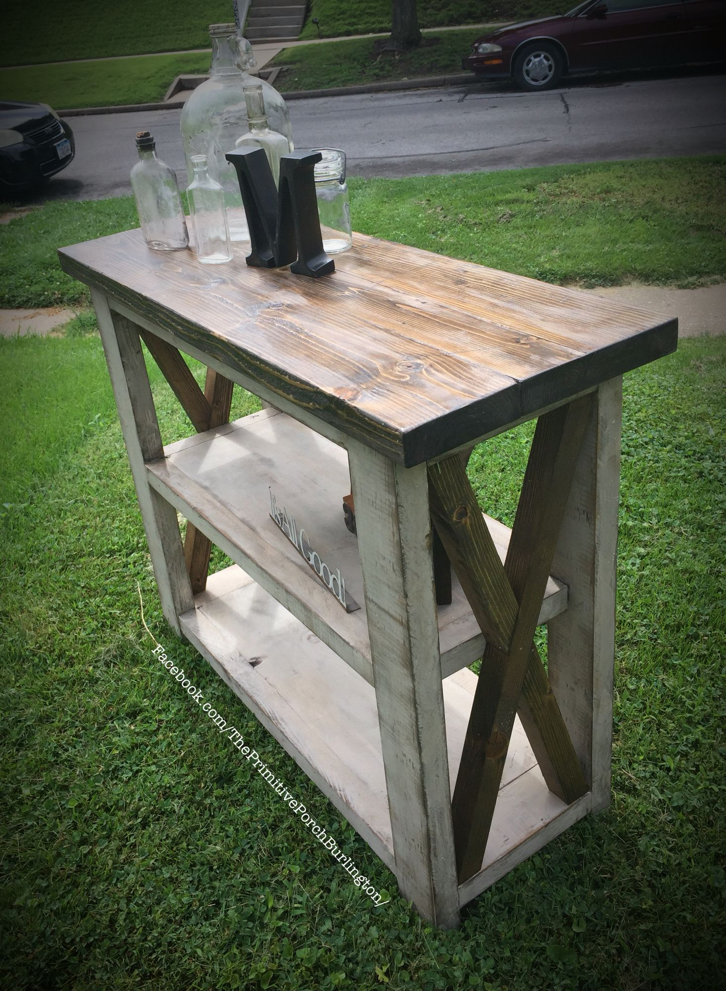 36 inch long X console table. Ana white DIY. Extra rustic white