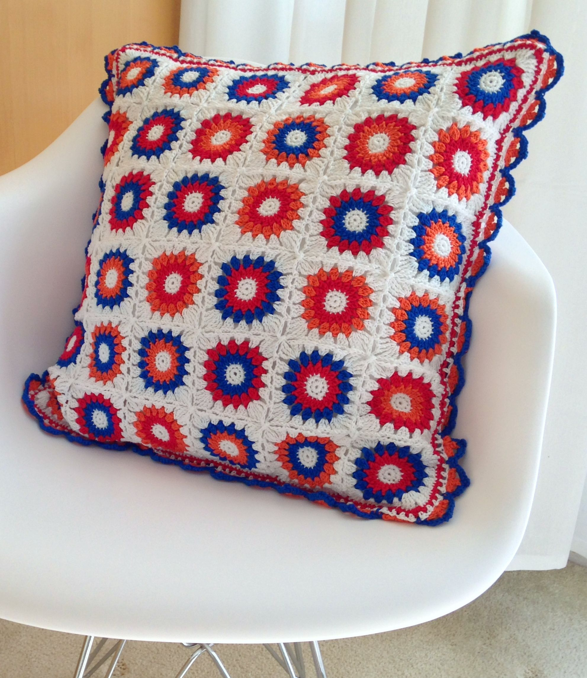 """""""I love Holland"""" cushion, (blog post includes maker tips plus links to crochet square pattern, border pattern & join as you go technique)  