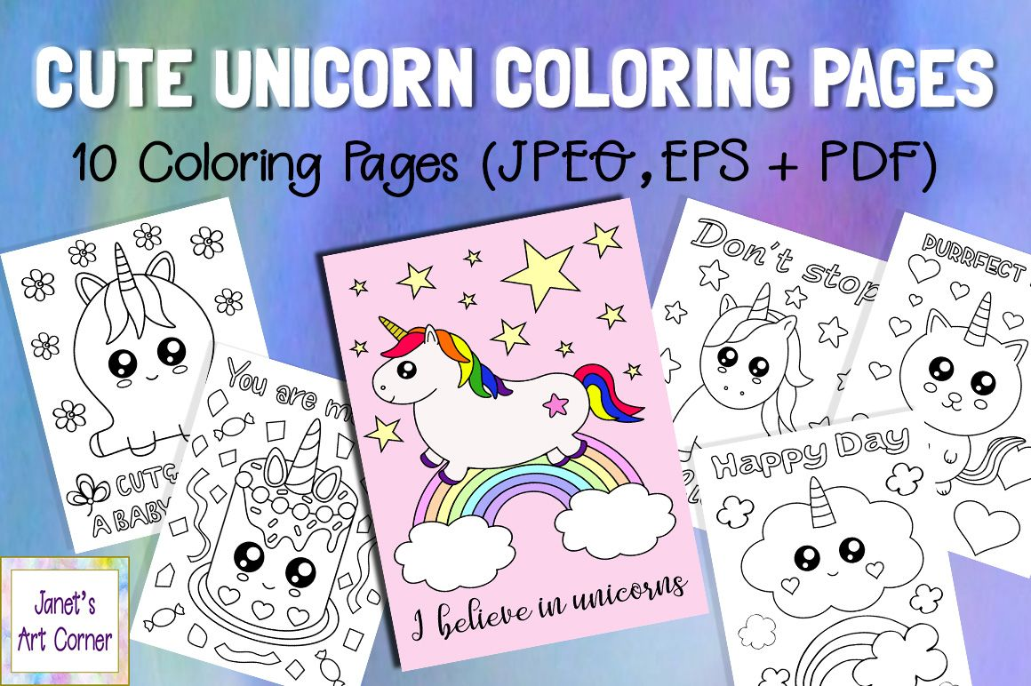 Cute Unicorn Coloring Pages Graphic By Janet S Cute Designs Creative Fabrica In 2020 Unicorn Coloring Pages Mermaid Coloring Pages Coloring Pages
