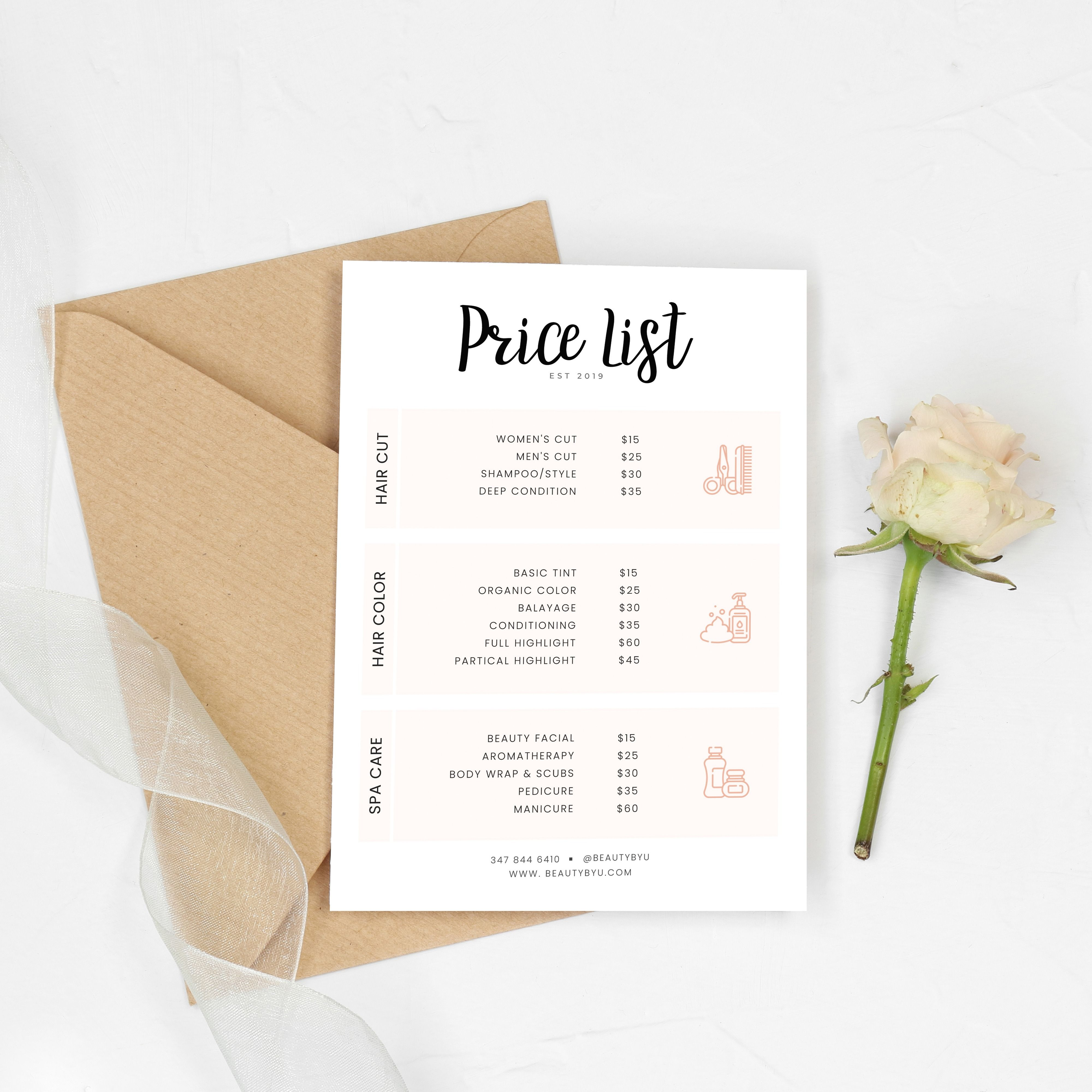 Salon and Spa Pricing PSD Template, Beauty Price List