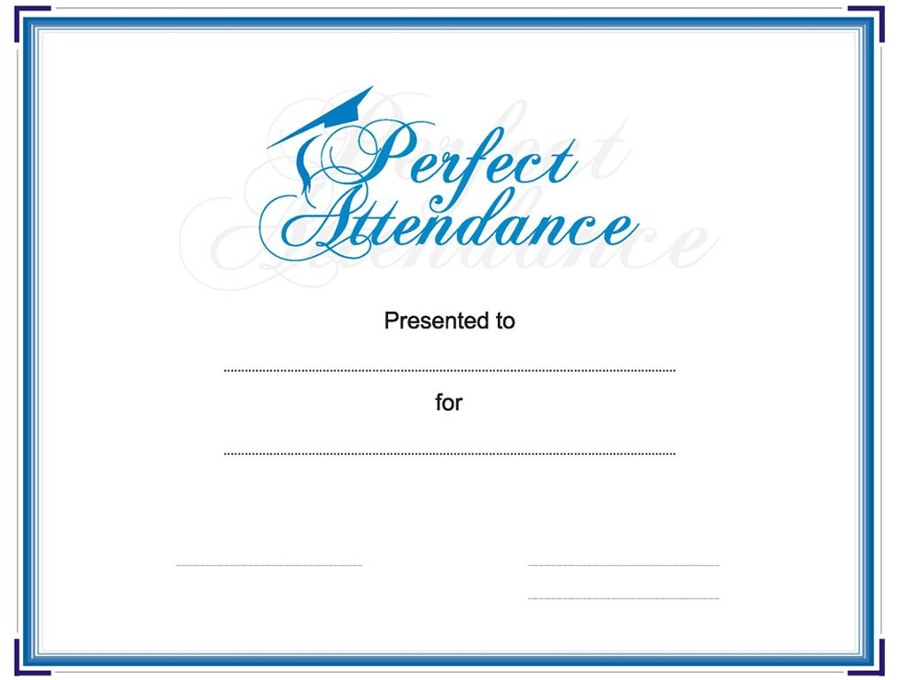 Award Your Student Or Employee For Perfect Attendance. This Attendance  Award Certificate Is Bordered In. Free CertificatesCertificate TemplatesPerfect  ...  Attendance Certificates Free Templates