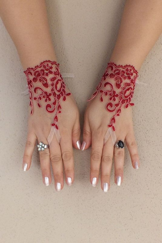 Burgundy lace gloves free ship bridal cuff by for Lace glove tattoo