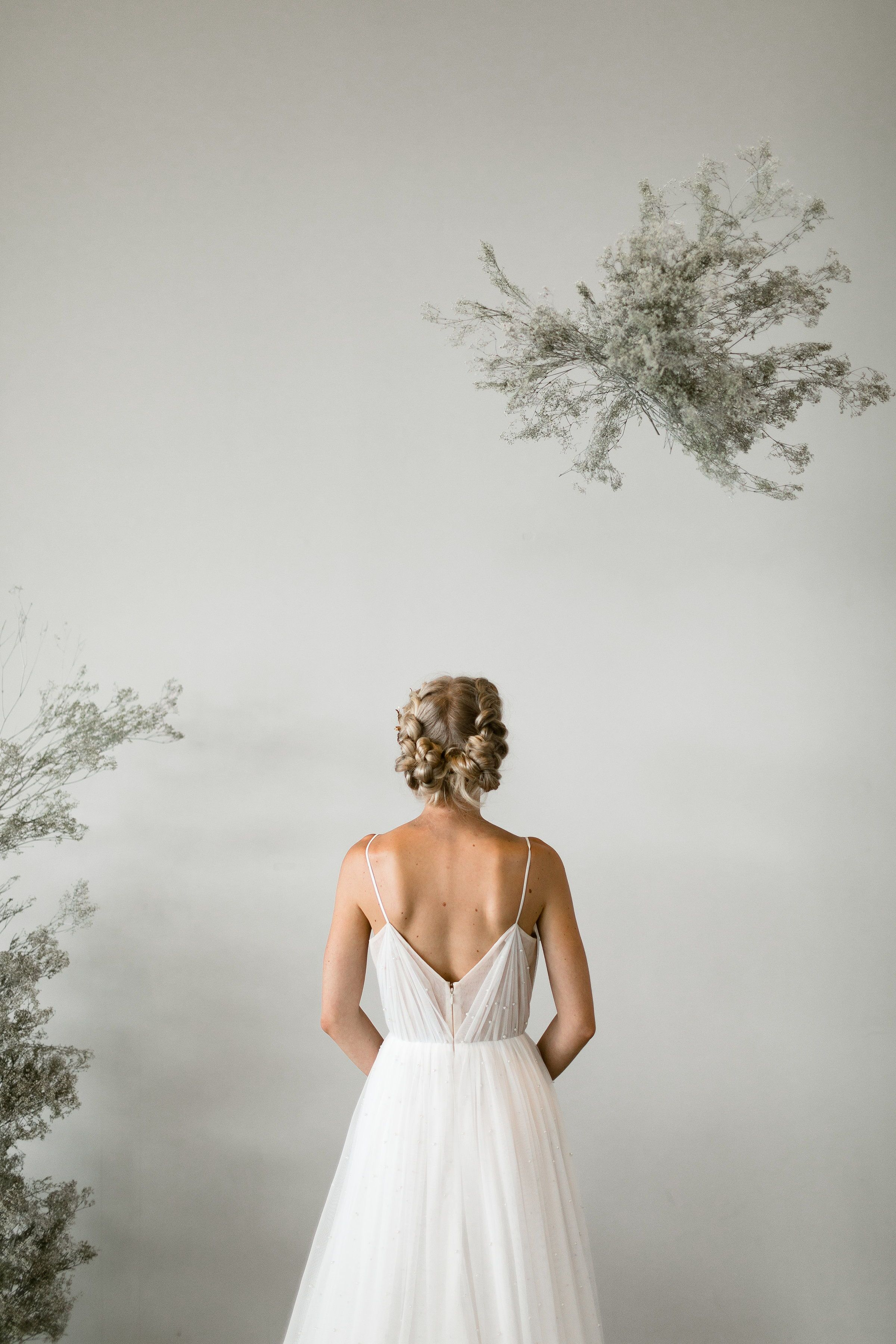 Simple modern wedding dress  Whittier  Tara Latour bridal Rose and Williams by Tara Latour