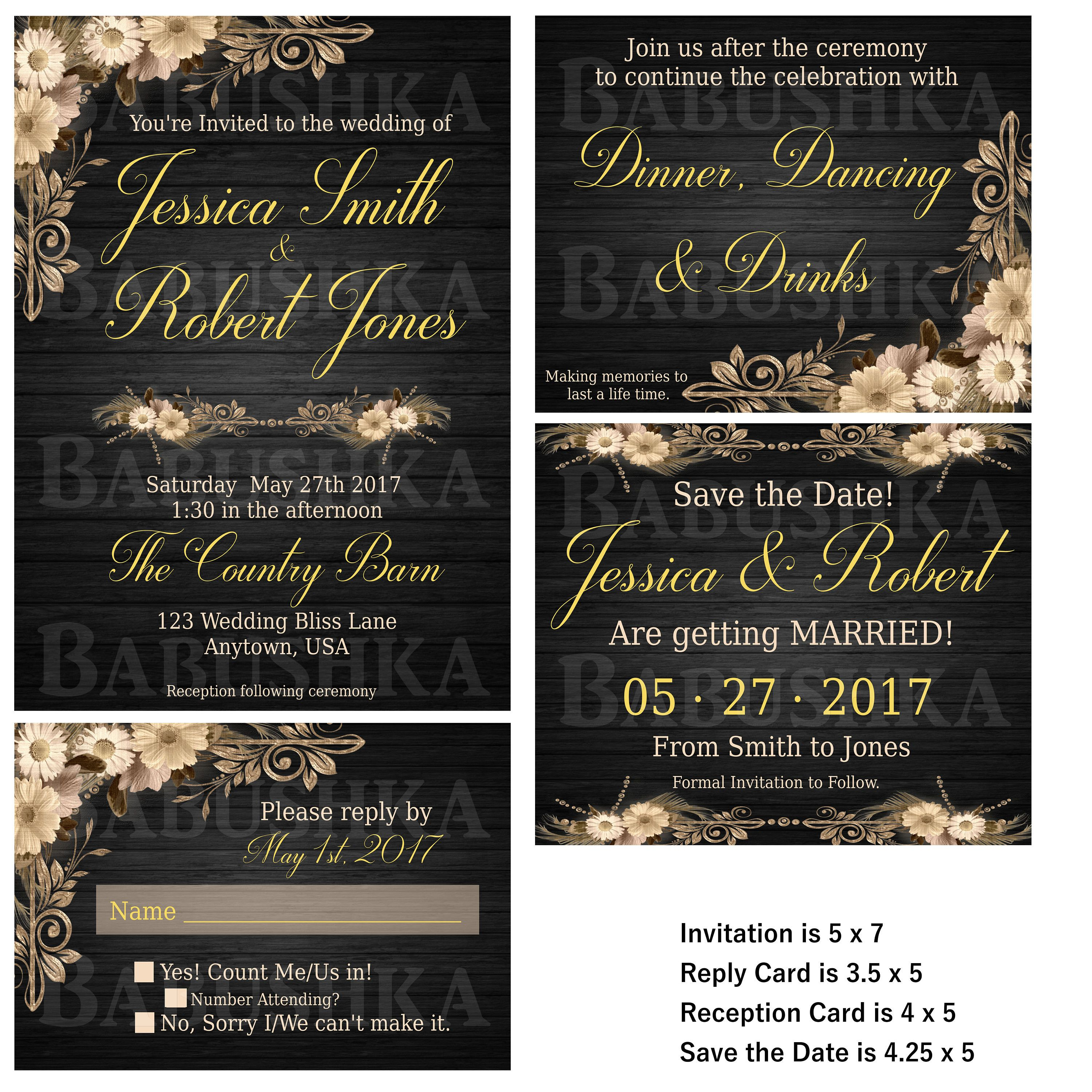 Country Chic Wedding Invitation set/ Country themed Wedding ...