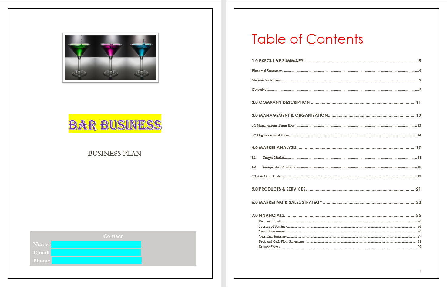 Pin by Business Plan Templates on Bar Business Plan