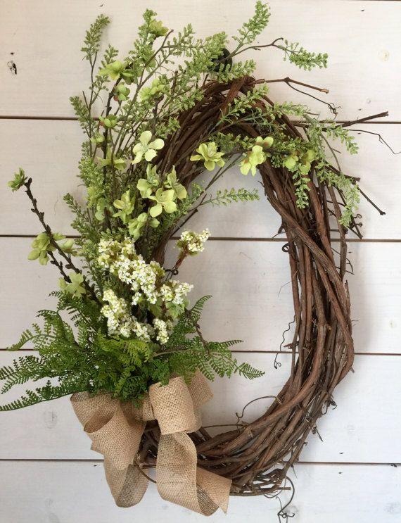 front door wreath mothers day gift fern wreath lambs ear wreath nursery decor easter wreath spring wreath gold hoop wreath REESE