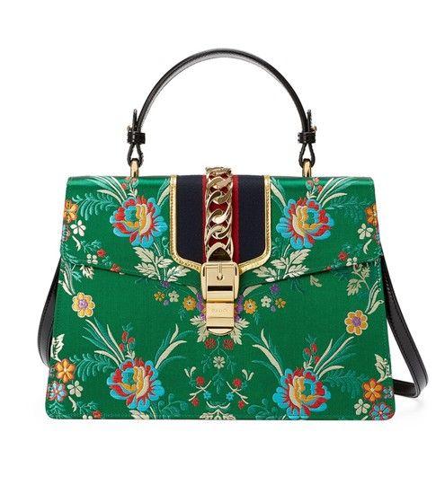 16a4f1fa6d4 Gucci Sylvie Medium Top Handle Green Floral Brocade Jacquard Cross Body Bag  - Tradesy
