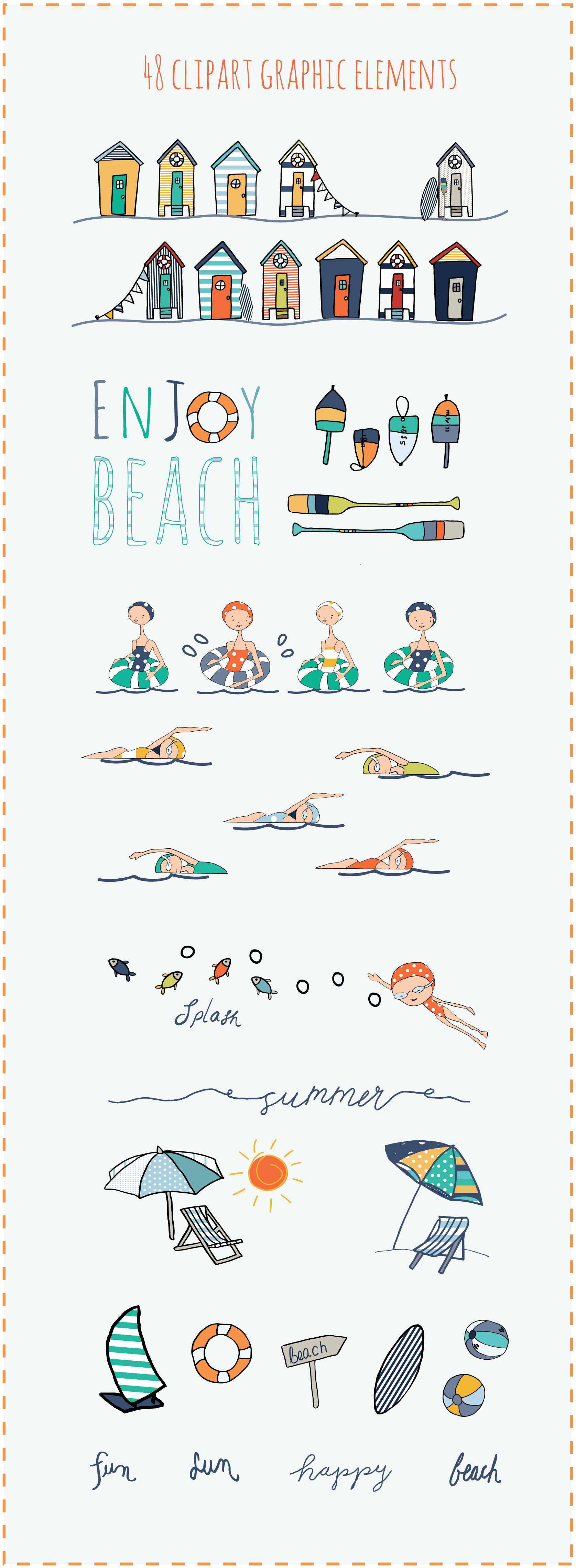 Summer at the Beach Graphic Package - 6 + 2 bonus seamless ...