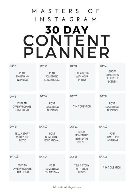 30 Day Instagram Content Planner  Instagram Planne