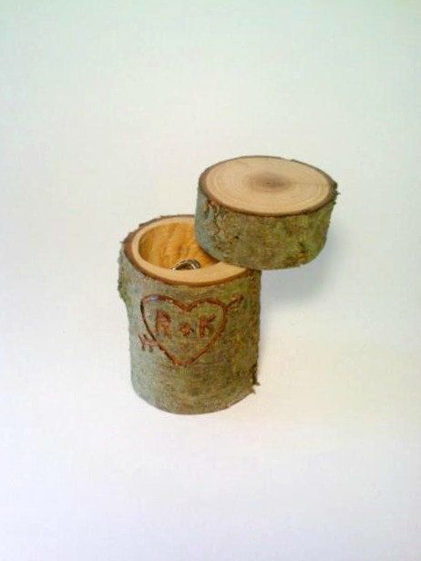 Rustic wedding ring bearer box, Valentine's Day, Proposal Box, log jewelry box.ring bearer?