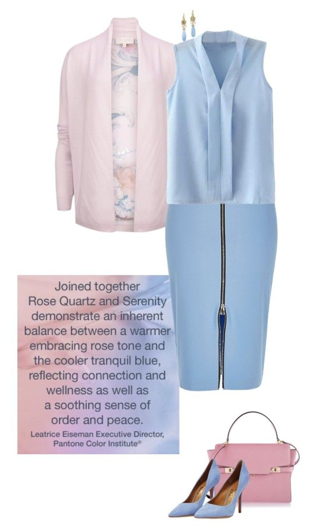 """""""Pantone Color(s) of the Year 2016"""" by bluecatreview13 ❤ liked on Polyvore featuring Ted Baker, River Island, Henri Bendel, Salvatore Ferragamo, Anthony by Anthony Camargo, monday, pantone, bluecatreview and over50styling"""