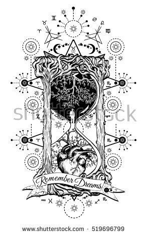 Tree And Heart In Hourglass Symbol Of Life And Death Mystical