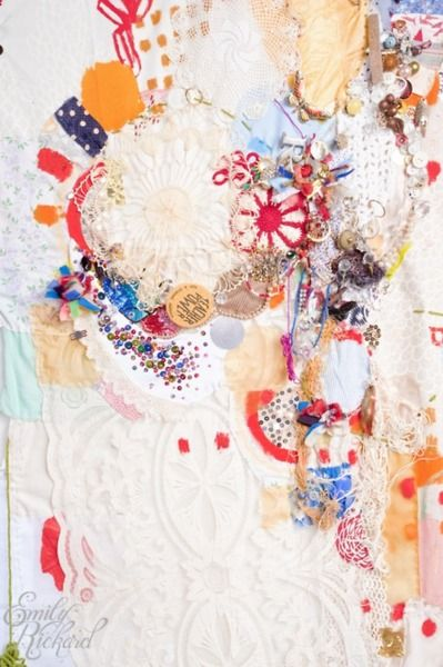 """The Silken Tent (Detail), 2010, Mixed Media on Fabric, 148"""" x 98"""" by Emily Rickard"""