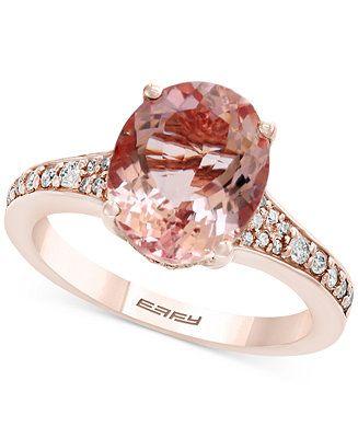 Effy Gemstone Bridal By Morganite 3 1 5 Ct T W Diamond 1 4