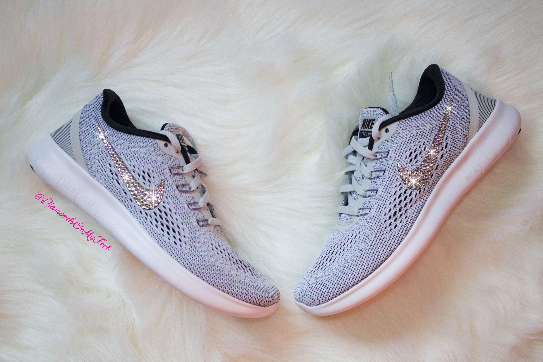 38353eec2639c Swarovski Women's Nike New Free RN Run 2017 Gray & White Sneakers ...