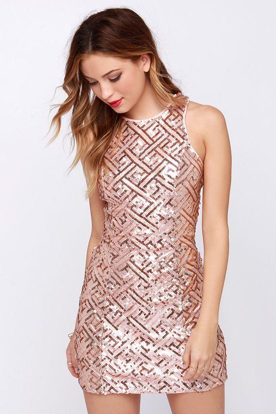 Pretty Amazing Rose Gold Sequin Dress | Clóset, Vestiditos y ...