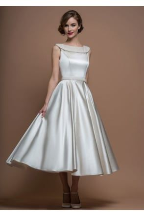 Agatha Satin 50s 60s Tea Length Short Wedding Dress | African ...