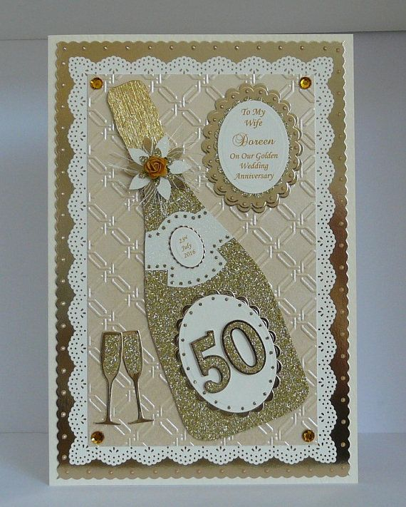 50th Golden Wedding Anniversary Card For Etsy In 2021 Anniversary Cards Handmade Anniversary Cards For Wife Golden Wedding Anniversary Card