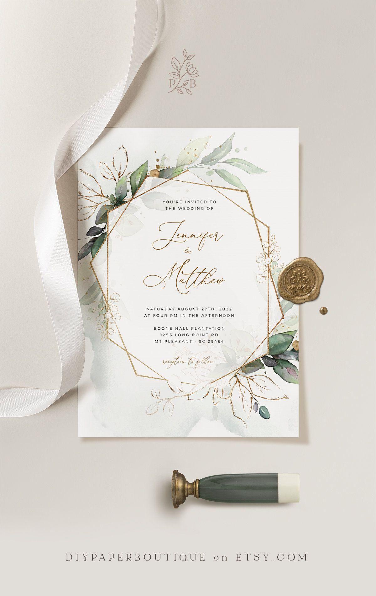 White Roses Greenery Wedding Invitation Template White Roses Eucalyptus Invitation Bundle for Wedding White Roses Greenery Wedding NEVE