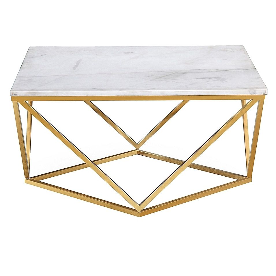 Tov Furniture Leopold Marble Cocktail Table In White Gold Marble Coffee Table Geometric Coffee Table Coffee Table Square [ 956 x 956 Pixel ]