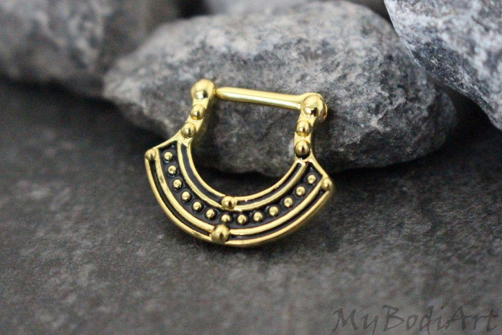 Tribal Septum Ring Gold, Gold Septum Clicker 16g, Afghan Fan, Aztec, Nipple Ring, Nipple Jewelry, Earring, Cartilage, Tragus, Rook, Conch