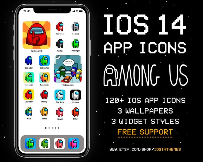 Among Us Ios 14 App Icons Ios14 Among Us Aesthetic Home Etsy Themes App App Icon App