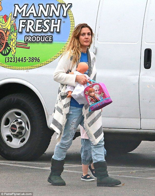 Casual: Drew Barrymore looked relaxed as she dressed down to enjoy some family time with h...