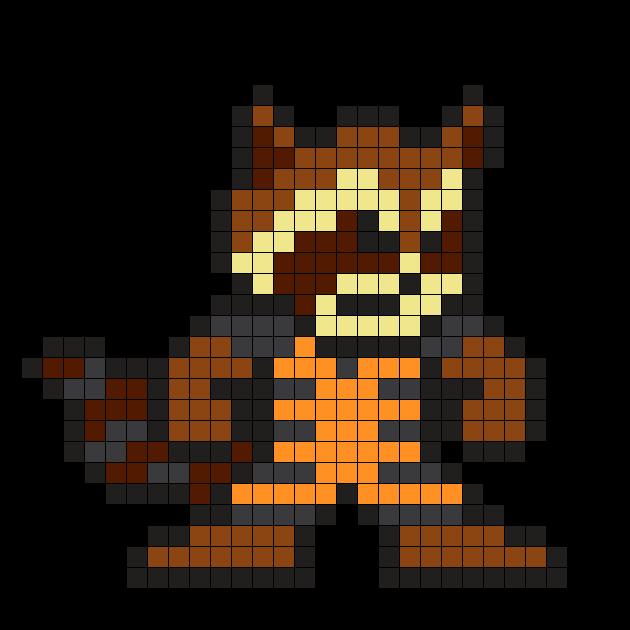 Rocket Raccoon Guardians Of The Galaxy Perler Bead Pattern